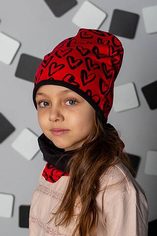 """Комплект """"Сердца - Красный"""" (шапка + снуд) ДЕТСКИЙ ТРИКОТАЖ 37"""