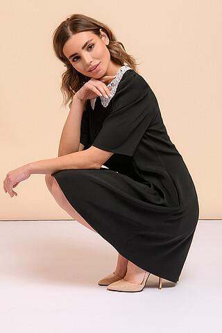 Платье длины мини черное с белым воротничком 1001 DRESS