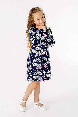 Платье Эля MAX единороги синий SOVALINA